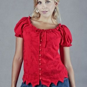 Inca Cottons Red Peasant Top Boho Poof Sleeve
